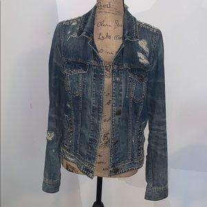 AEO-Distressed Studded Jean Jacket